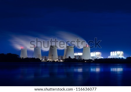 Lignite power plant at night