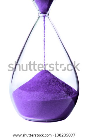 Lilac hourglass on white background.