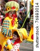 LIMASSOL, CYPRUS - MARCH 6:  Clowns at Carnival Parade on March 6, 2011 in Limassol, Cyprus. Unidentified people - stock photo