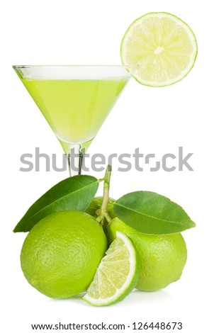 Lime juice, limes with leaves. Isolated on white background