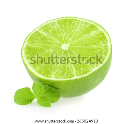 Lime with mint leaves isolated