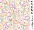 Line art grape vines seamless pattern background raster - stock vector