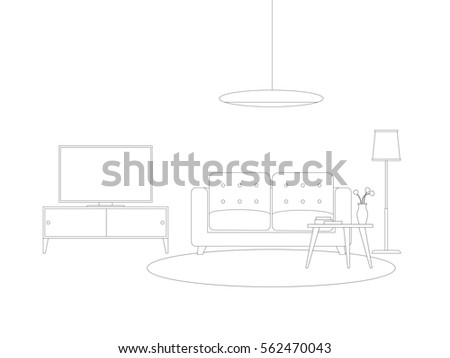 Line Interior Of Living Room With Furniture Raster Version