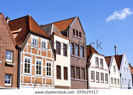 Line of houses in the old town of Buxtehude, Germany. Hamburg, North Germany. Historical city with old houses. Old facades.