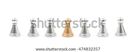 Line of silver and golden chess pawns isolated over the white background