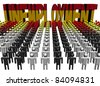 lines of people with unemployment Spanish flag text illustration - stock photo