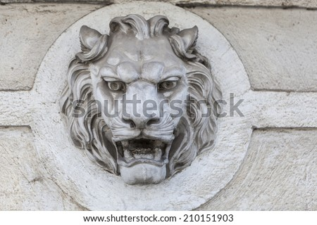 Lion head building exterior wall sculpture decoration
