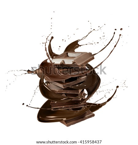 liquid splash chocolate around stack of chocolate blocks, isolated on white