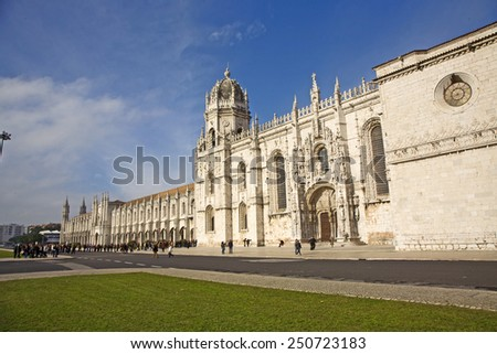 LISBON, PORTUGAL - DEC 30, 2008: people visit the Jeronimos Monastery or Hieronymites Monastery in Lisbon, Portugal. Jeronimos Monastery was completed in 1544 and is UNESCO World Heritage Site.