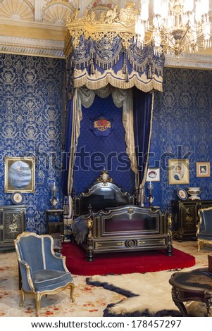 Lisbon, Portugal, December 02, 2013: The Queen Bedroom of the Ajuda National Palace, Lisbon, Portugal - 19th century neoclassical Royal palace.
