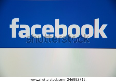 LISBON, PORTUGAL - DECEMBER 30, 2014: View of Facebook homepage on a monitor screen.