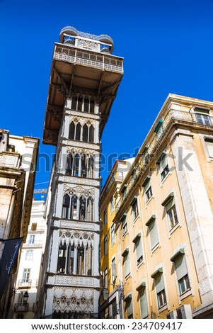 LISBON, PORTUGAL - JULY 17: The Santa Justa Lift (Elevador de Santa Justa), also called Carmo Lift on July 17, 2014. It is an elevator/lift in the historical city of Lisbon connecting Baixa and Carmo.