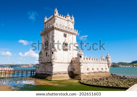 LISBON, PORTUGAL - JUN 20, 2014:  Tower of Belem. It's a UNESCO world heritage and one of the Seven Wonders of Portugal