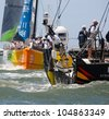 LISBON, PORTUGAL - JUNE 9: Abu Dhabi Ocean Racing Volvo Ocean Race - Lisbon StopOver - Harbour Race June 9, 2012 in Lisbon, Portugal - stock photo