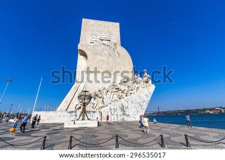 LISBON, PORTUGAL - MAY 26, 2015: Monument to the Discoveries is a monument on the northern bank of the Tagus River estuary, in the civil parish of Santa Maria de Belem, Lisbon.