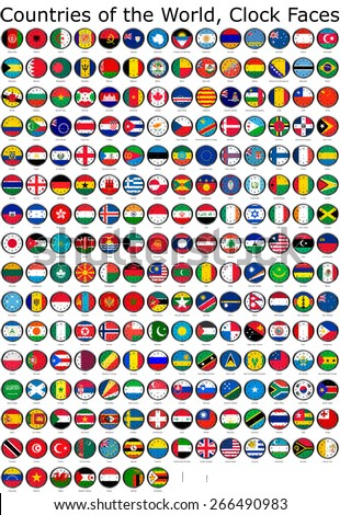 List of countries in the world, national flags set on a clock face, so you can set the time you want.