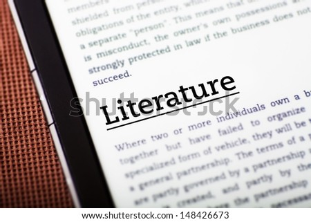 Literature on tablet pc screen, ebook concept