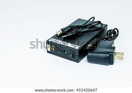 lithium ion battery pack with charger on white background