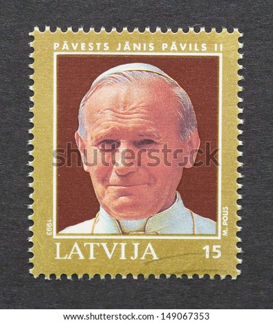 LITHUANIA - CIRCA 1993: a postage stamp printed in Lithuania showing an image of pope John Paul II, circa 1993.