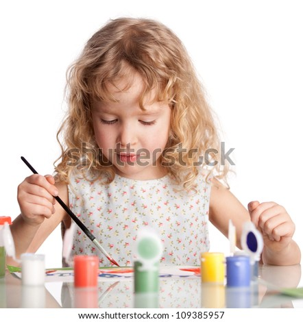 Littl child, drawing paint. Isolated on white
