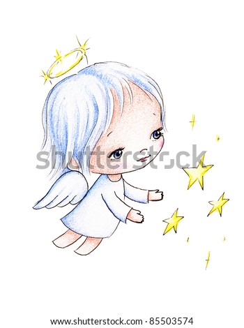 little angel flying with stars on white background