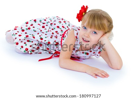 Little beautiful girl in a white dress with roses is fun and smiling (enjoying life). isolated on white background