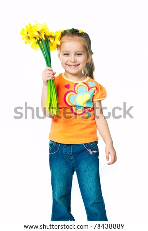 little beautiful girl with a bouquet of daffodils