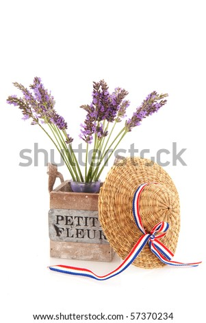 Little bouquet purple Lavender in wooden crate isolated over white