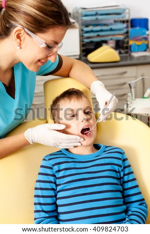 Little boy at the dentist office.
