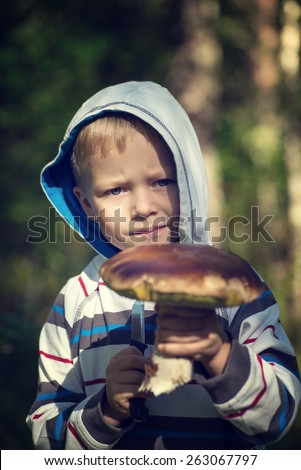 little boy holding mushroom in a forest, autumn time