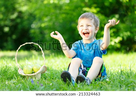 Little boy sitting on the grass with basket of apples