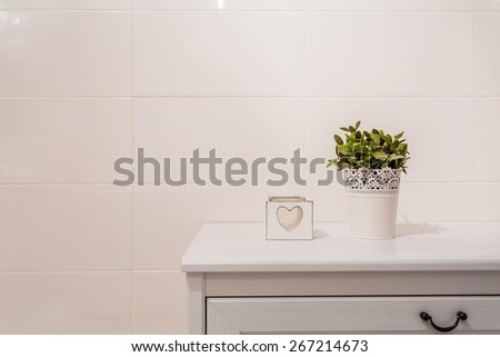 Little charming bathroom decorations on white commode
