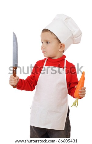 Little chief-cooker with kitchen knife and carrot, isolated on white