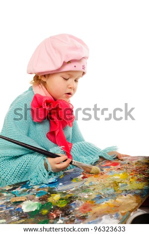 little funny painter isolated on white