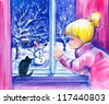 Little girl and her cat looking at the snow and snowman in garden.Picture I have created with watercolors. - stock photo