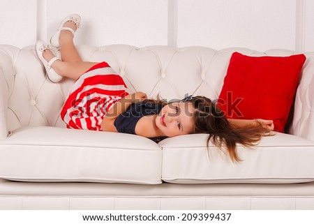 Young Girl Stomach Pain Lying On Stock Photo 581614936 ...