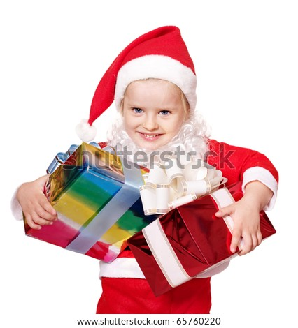 Little girl in santa costume holding group gift box. Isolated.