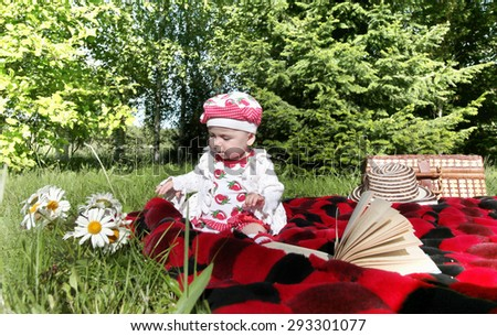 little girl on a picnic