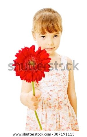 Little girl wearing summer dress giving red flower isolated on white background - mothers day concept