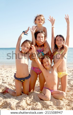 little girls at the beach