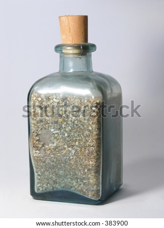 Little glass-bottle with sand from the beach