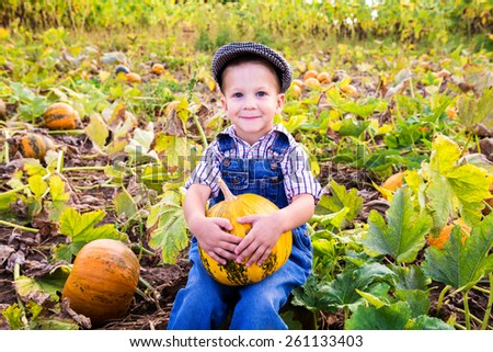 Little kid with pumpkin in hands sitting on vegetable garden