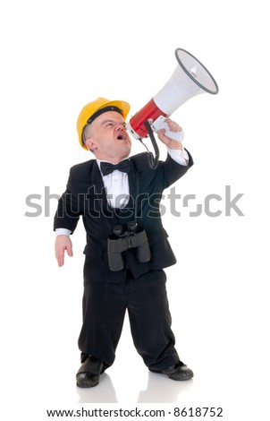 Little man, dwarf construction supervisor with megaphone, giving orders, studio shot, white background