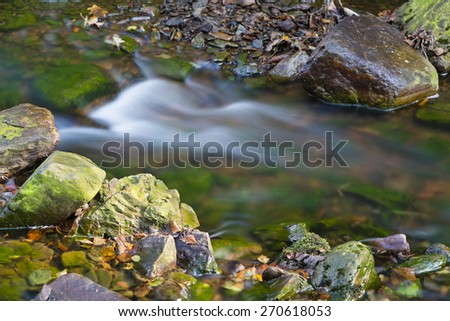 Little rapid in a mountain river in the High Fens, Ardennes, Belgium, long exposure shot