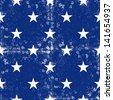 little white stars in regular horizontal and vertical rows on dark blue background grunge seamless pattern raster version - stock photo