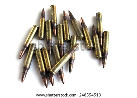 Live ammunition for the rifle on a white background