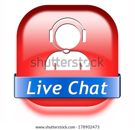 live chat chatting online red button stock photo. Black Bedroom Furniture Sets. Home Design Ideas