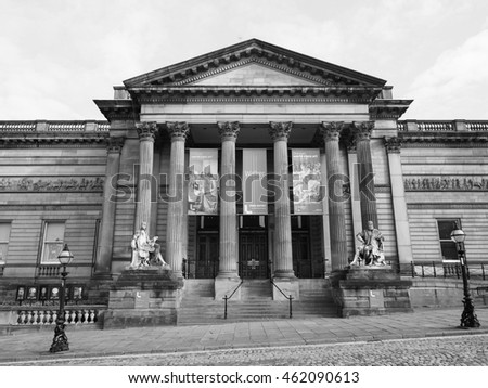 LIVERPOOL, UK - CIRCA JUNE 2016: Walker Art Gallery in black and white
