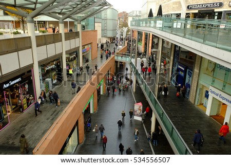 Liverpool, UK - 01/12/2016: Liverpool One shopping centre