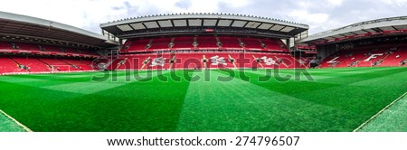 LIVERPOOL, UNITED KINGDOM - APRIL 13, 2015: Panorama of Anfield stadium, Liverpool, UK. it is the seventh largest football stadium in England and has been the home of Liverpool F.C. since 1892.
